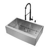 All-In-One 36'' Bedford Stainless Steel Farmhouse Kitchen Sink Set with Laurelton Faucet in Matte Black, Grid, Strainer and Soap Dispenser