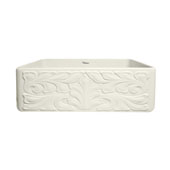 Gothichaus Reversible Series Fireclay Sink with a Gothic Swirl or Fluted Design, 30''W x 18''D x 10''H