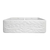 Gothichaus Reversible Series Fireclay Double Bowl Sink with a Gothic Swirl or Fluted Design, 18''W x 33''D x 10''H