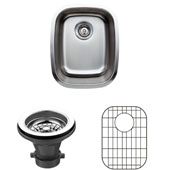 18 Gauge Single-Bowl Undermount Stainless Steel Sink Package w/ Grid and Strainer, 15-1/4''W x 19''D x 7''H