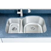 Craftsmen Series 18 Gauge 30/70 Double Bowl Undermount Stainless Steel Sink, Large Bowl Right, 31-1/2''W x 20-1/2''D x 9''H