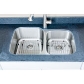 16 Gauge 60/40 Double-Bowl Undermount Stainless Steel Sink with Larger Bowl on Left Package w/ 2 Grids and 2 Strainers, 32-1/8''W x 20-5/8''D x 9''H