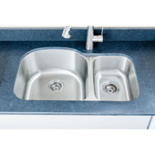 Craftsmen Series 18 Gauge 30/70 Double Bowl Undermount Stainless Steel Sink, Large Bowl Left, 31-1/2''W x 20-1/2''D x 9''H