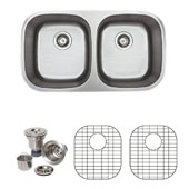 18 Gauge 50/50 Equal Double-Bowl Undermount Stainless Steel Sink Matte Finish, Package Includes 2 Protection Grids and 2 Strainers, 32-1/2''W x 18-1/8''D x 8-1/4�H
