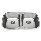 Craftsmen Series Stainless Steel Double Bowl Undermount Sink, 18 Gauge, 32-1/4''W x 18''D x 8''H