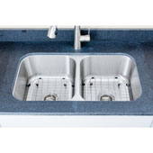 18 Gauge 50/50 Equal Double-Bowl Undermount Stainless Steel Sink Package w/ 2 Grids and 2 Strainers, 32-1/2''W x 32-1/8''D x 9''H