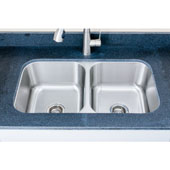 18 Gauge 50/50 Equal Double-Bowl Undermount Stainless Steel Sink Matte Finish, 32-1/2''W x 32-1/8''D x 9''H