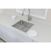 Chef''s Series Commercial Grade Handcrafted Undermount Stainless Steel Sink, 20-1/2''W x 19''D x 9''H