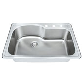 18 Gauge Offset Single-Bowl Topmount Stainless Steel Sink Matte Finish, 33''W x 22''D x 9''H