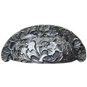 Florals & Leaves Collection 4-1/8'' Wide Florid Leaves Cabinet Bin Pull in Satin Nickel, 4-1/8'' W x 1-1/8'' D x 1-3/4'' H