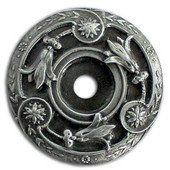 Jewels Collection 1-5/16'' Diameter Jeweled Lily Round Cabinet Backplate in Antique Pewter, 1-5/16'' Diameter x 3/16'' D
