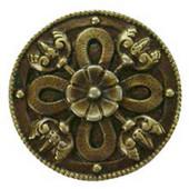 Period Pieces Collection 1-1/8'' Diameter Celtic Shield Round Cabinet Knob in Antique Brass, 1-1/8'' Diameter x 7/8'' D