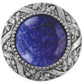 Jewels Collection 1-5/16'' Diameter Victorian Jewel Round Cabinet Knob with Blue Sodalite Center in Antique Pewter, 1-5/16'' Diameter x 1-1/4'' D