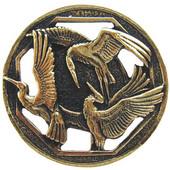 Lodge & Nature Collection 1-3/8'' Diameter Crane Dance Round Cabinet Knob in Brite Brass, 1-3/8'' Diameter x 7/8'' D