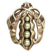 Kitchen Garden Collection 1-5/8'' Wide Pearly Peapod Cabinet Knob in Antique Brass, 1-5/8'' W x 1-1/8'' D x 2'' H