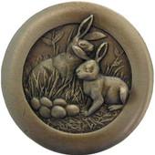 Fun in the Kitchen Collection 1-3/8'' Diameter Rabbits Round Cabinet Knob in Antique Brass, 1-3/8'' Diameter x 7/8'' D