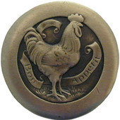 Fun in the Kitchen Collection 1-7/16'' Diameter Rooster Round Cabinet Knob in Antique Brass, 1-7/16'' Diameter x 7/8'' D