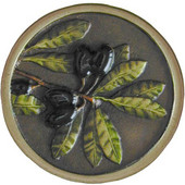 Tuscan Collection 1-5/16'' Diameter Olive Branch Round Cabinet Knob in Hand-Tinted Antique Brass, 1-5/16'' Diameter x 7/8'' D