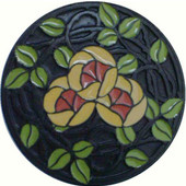 Period Pieces Collection 1-7/16'' Diameter Delaney's Rose/Yellow Coral Flower Round Cabinet Knob in Enameled Dark Brass, 1-7/16'' Diameter x 7/8'' D