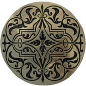 Classic Collection 1-7/16'' Diameter Round Renaissance Etch Cabinet Knob in Brite Brass, 1-7/16'' Diameter x 7/8'' D