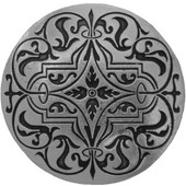 Classic Collection 1-7/16'' Diameter Renaissance Etch Round Cabinet Knob in Brilliant Pewter, 1-7/16'' Diameter x 7/8'' D