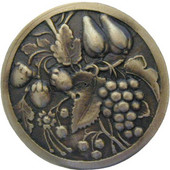 Tuscan Collection 1-3/8'' Diameter Tuscan Bounty Round Cabinet Knob in Antique Brass, 1-3/8'' Diameter x 7/8'' D
