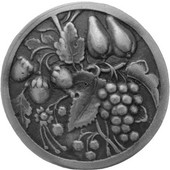 Tuscan Collection 1-3/8'' Diameter Tuscan Bounty Round Cabinet Knob in Antique Pewter, 1-3/8'' Diameter x 7/8'' D