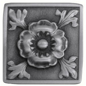 English Garden Collection 1-3/8'' Wide Poppy Square Cabinet Knob in Antique Pewter, 1-3/8'' W x 7/8'' D x 1-3/8'' H