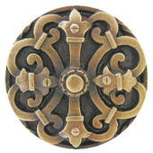Chateau Collection 1-5/8'' Diameter Chateau Round Cabinet Knob in Antique Brass, 1-5/8'' Diameter x 7/8'' D