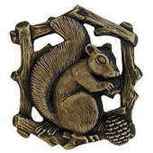 Woodland Collection 1-1/2'' Wide Grey Squirrel Left Side Cabinet Knob in Antique Brass, 1-1/2'' W x 7/8'' D x 1-5/8'' H