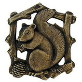 Woodland Collection 1-1/2'' Wide Grey Squirrel Right Side Cabinet Knob in Antique Brass, 1-1/2'' W x 7/8'' D x 1-5/8'' H