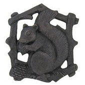 Woodland Collection 1-1/2'' Wide Grey Squirrel Right Side Cabinet Knob in Dark Brass, 1-1/2'' W x 7/8'' D x 1-5/8'' H