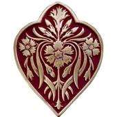 English Garden Collection 1-1/2'' Wide Dianthus/Cayenne Cabinet Knob in Antique Brass/Cayenne (Red), 1-1/2'' W x 7/8'' D x 1-7/8'' H
