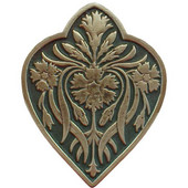 English Garden Collection 1-1/2'' Wide Dianthus/Sage Cabinet Knob in Antique Brass/Sage (Green), 1-1/2'' W x 7/8'' D x 1-7/8'' H