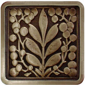 English Garden Collection 1-3/8'' Wide Mountain Ash Square Cabinet Knob in Antique Brass, 1-3/8'' W x 7/8'' D x 1-3/8'' H