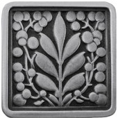 English Garden Collection 1-3/8'' Wide Mountain Ash Square Cabinet Knob in Antique Pewter, 1-3/8'' W x 7/8'' D x 1-3/8'' H