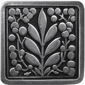 English Garden Collection 1-3/8'' Wide Mountain Ash Square Cabinet Knob in Brilliant Pewter, 1-3/8'' W x 7/8'' D x 1-3/8'' H