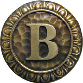 Initial Collection 1-3/8'' Diameter Initial B Round Cabinet Knob in Antique Brass, 1-3/8'' Diameter x 7/8'' D