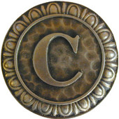 Initial Collection 1-3/8'' Diameter Initial C Round Cabinet Knob in Antique Brass, 1-3/8'' Diameter x 7/8'' D