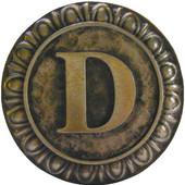 Initial Collection 1-3/8'' Diameter Initial D Round Cabinet Knob in Antique Brass, 1-3/8'' Diameter x 7/8'' D