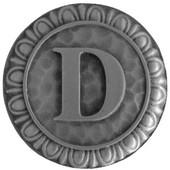 Initial Collection 1-3/8'' Diameter Initial D Round Cabinet Knob in Antique Pewter, 1-3/8'' Diameter x 7/8'' D