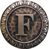 Initial Collection 1-3/8'' Diameter Initial F Round Cabinet Knob in Antique Brass, 1-3/8'' Diameter x 7/8'' D