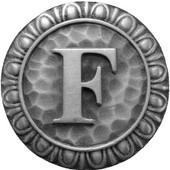 Initial Collection 1-3/8'' Diameter Initial F Round Cabinet Knob in Antique Pewter, 1-3/8'' Diameter x 7/8'' D
