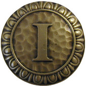 Initial Collection 1-3/8'' Diameter Initial I Round Cabinet Knob in Antique Brass, 1-3/8'' Diameter x 7/8'' D