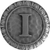 Initial Collection 1-3/8'' Diameter Initial I Round Cabinet Knob in Antique Pewter, 1-3/8'' Diameter x 7/8'' D