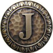 Initial Collection 1-3/8'' Diameter Initial J Round Cabinet Knob in Antique Brass, 1-3/8'' Diameter x 7/8'' D