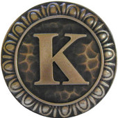 Initial Collection 1-3/8'' Diameter Initial K Round Cabinet Knob in Antique Brass, 1-3/8'' Diameter x 7/8'' D