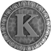 Initial Collection 1-3/8'' Diameter Initial K Round Cabinet Knob in Antique Pewter, 1-3/8'' Diameter x 7/8'' D