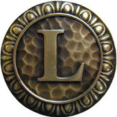 Initial Collection 1-3/8'' Diameter Initial L Round Cabinet Knob in Antique Brass, 1-3/8'' Diameter x 7/8'' D