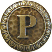 Initial Collection 1-3/8'' Diameter Initial P Round Cabinet Knob in Antique Brass, 1-3/8'' Diameter x 7/8'' D